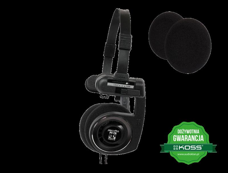 Słuchawki KOSS Porta Pro BLK + Zestaw 6szt. gąbek na nauszniki