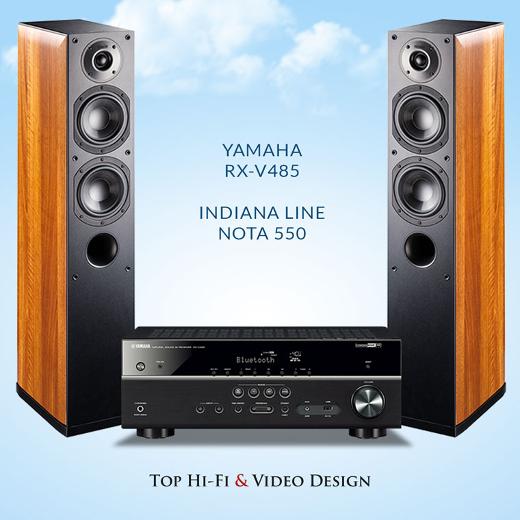 Yamaha RX-V485 oraz Indiana Line Nota 550
