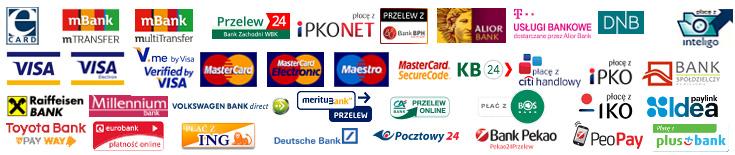ePrzelewy loga banków oraz kart płatniczych