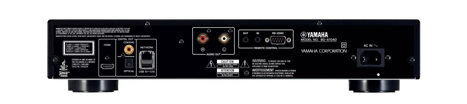Odtwarzacz BD/DVD Yamaha BD-A1040 - tył