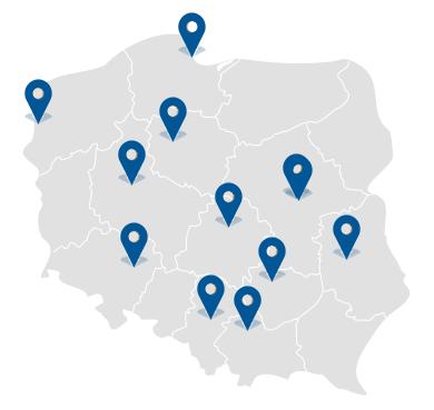 14 salonów wcałej Polsce